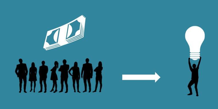 L'immagine rappresenta il funzionamento del crowdfunding